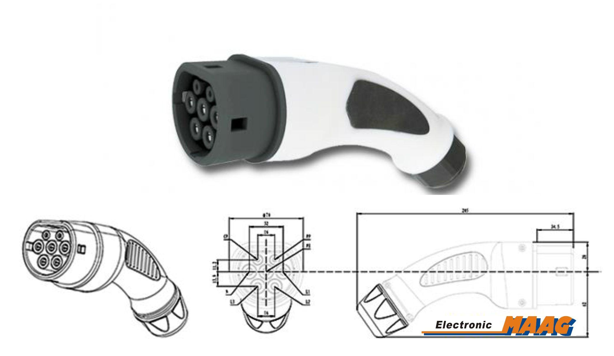 typ 2 stecker 16a plug ladestecker female weiblich fahrzeugseite elektroauto. Black Bedroom Furniture Sets. Home Design Ideas