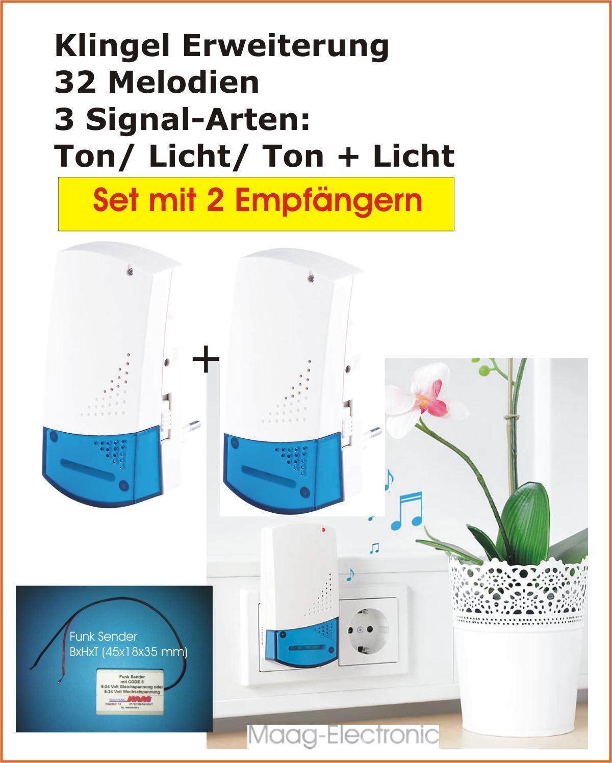 megashop365.de - Klingel Erweiterung per Funk Set mit 2 Empfänger !