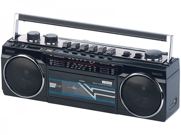 Retro-Boombox mit Kassetten-Player, Radio, USB, SD & Bluetooth, 8 Watt auvisio Radio-Recorder