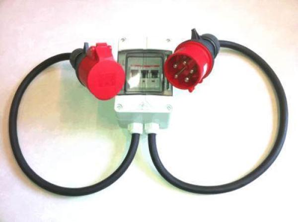 cee adapter cee stecker 32a 400v auf 16a kupplung mit sicherungen 16 a vde. Black Bedroom Furniture Sets. Home Design Ideas