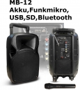 "Mobile Beschallungsanlage HOLLYWOOD ""MB-12"" Akku, Funkmikro, SD/USB, Bluetooth"